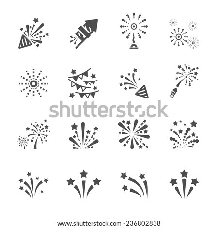 firework icon set 4, vector eps10. - stock vector