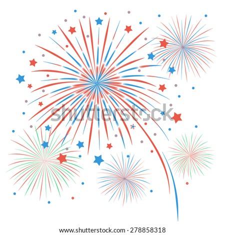 Firework on white background - stock vector