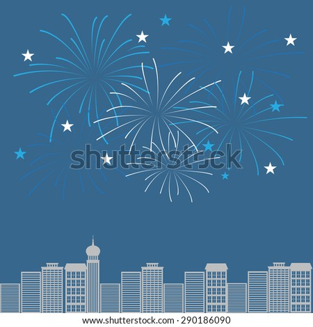 firework with night town background, can be used for celebration, party, and new year event - stock vector