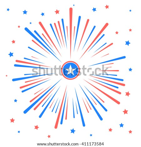 Fireworks and stars in national American colors. Vector illustration isolated on white background - stock vector