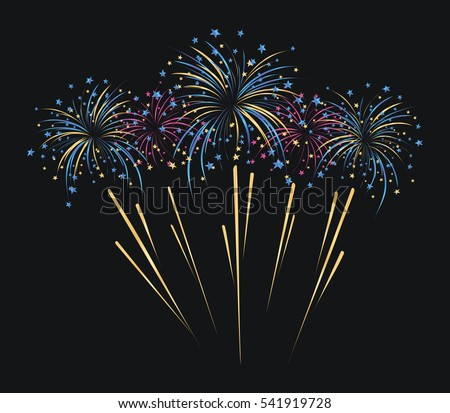 Fireworks And Stars On Black Background Mardi Gras Vector Illustration Isolated White