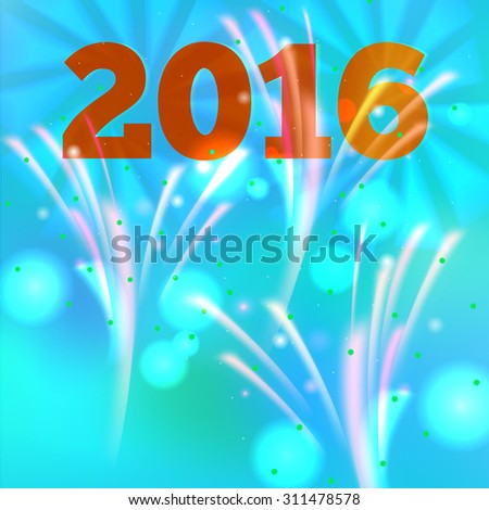 Fireworks background for New Year. Vector illustration. - stock vector