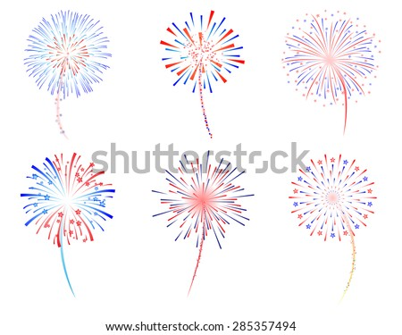 Fireworks celebration vector illustration - stock vector