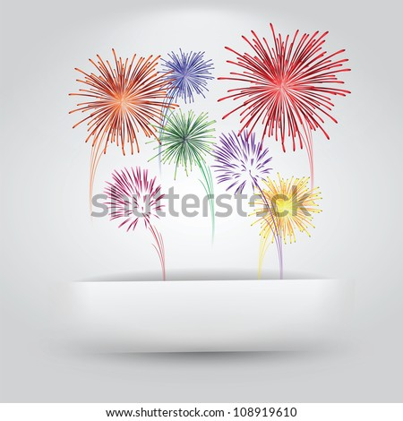 Fireworks Coming Out of Paper Slit - stock vector