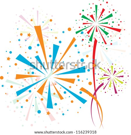 Fireworks different colors on white background - stock vector