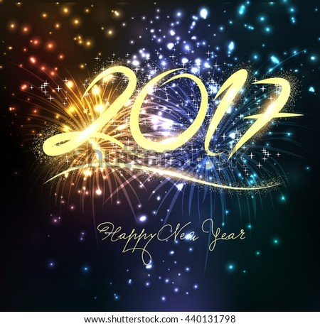 Fireworks for happy new year 2017 - stock vector