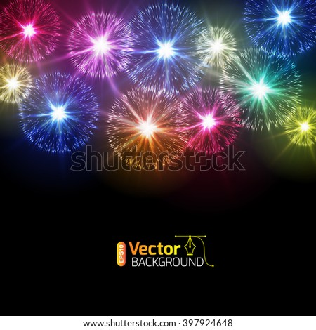 Fireworks from fireworks flares - stock vector