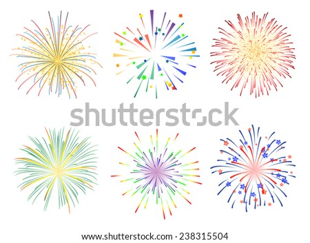 Fireworks illustration for New Year Celebration - stock vector