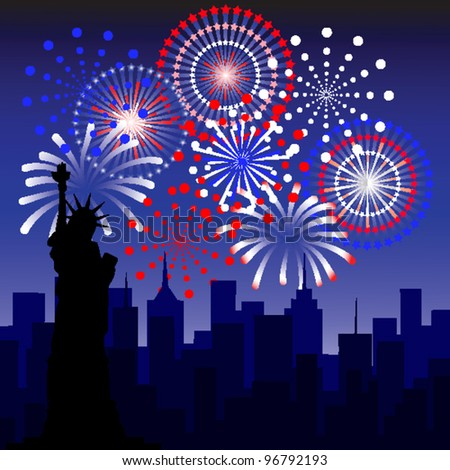 fireworks in new york - stock vector