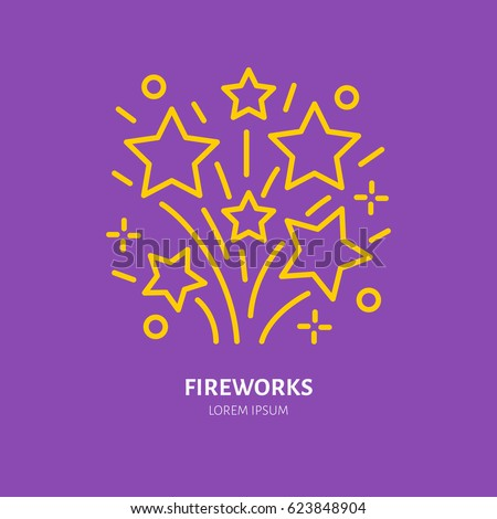 Fireworks line icon. Vector logo for event service. Linear illustration of firecrackers.