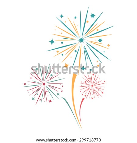 Fireworks on a white background - stock vector