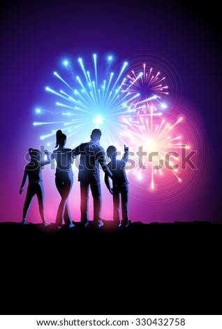 Fireworks Party. A happy family watching a fireworks display. Vector illustration. - stock vector