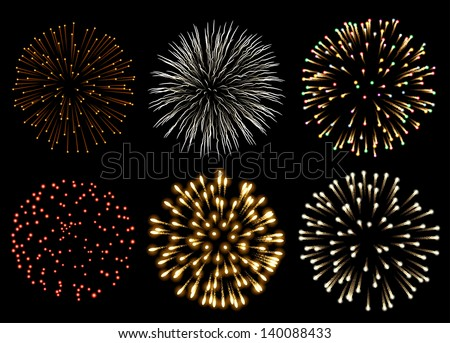 Fireworks set, EPS 10 contains transparency