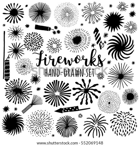 Fireworks vector icon set isolated