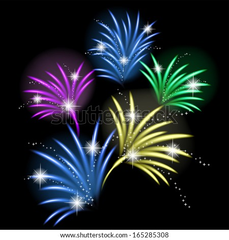 Fireworks. Vector illustration. - stock vector