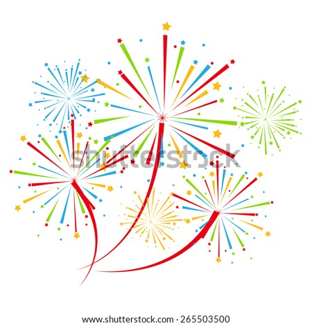Fireworks vector on white background