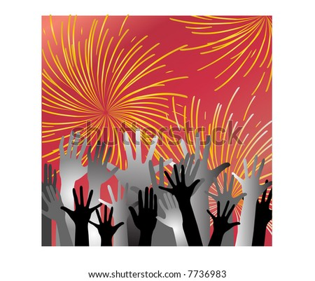 fireworks with hands - stock vector