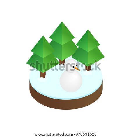 Firs in winter forest isometric 3d icon on a white background - stock vector