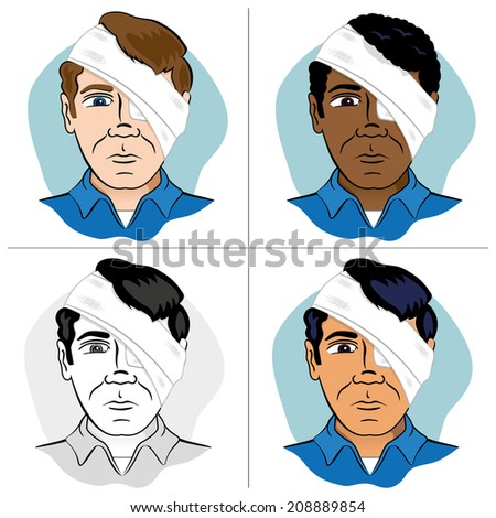 First Aid bandage with bandages on head and eye bandage on ethnic - stock vector