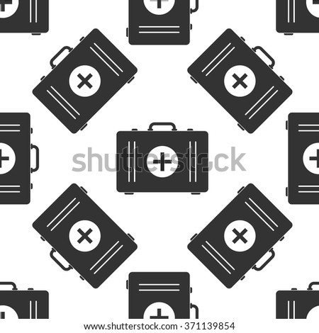 First aid box icon seamless pattern on white background. Vector Illustration - stock vector