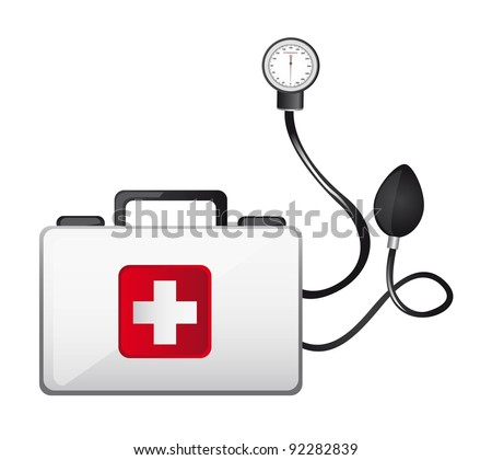 first aid box with sphygmomanometer isolated vector illustration
