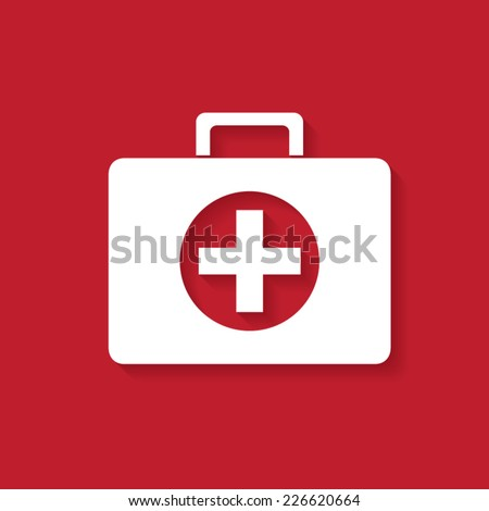 First aid case flat icon with shadow. Vector illustration eps10. - stock vector