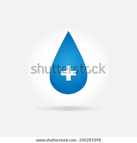 First aid drop blue sign - stock vector