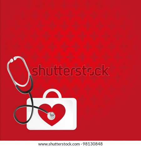first aid, heartbeat, background over red pattern - stock vector