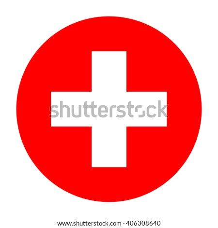 First aid icon, first aid sign, white first aid symbol on red background, vector illustration - stock vector