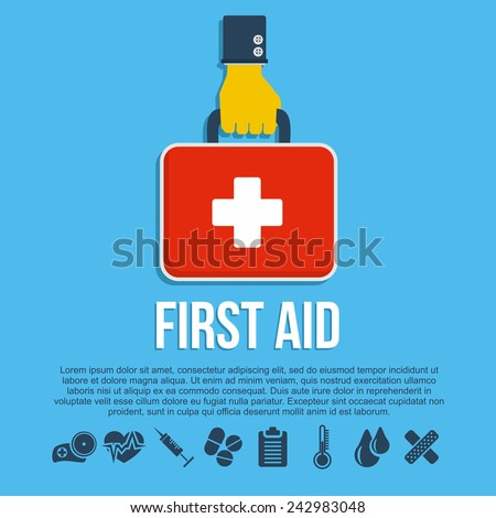 First aid kit concept with hand holding medicine chest with cross and healthcare icons flat vector illustration - stock vector
