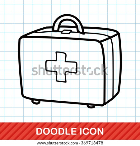 First aid kit doodle - stock vector