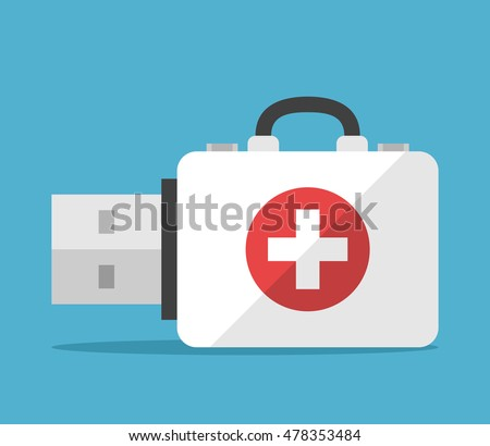 First aid kit flash drive on blue background. Backup, computer and help concept. Flat design. Vector illustration. EPS 8, no transparency