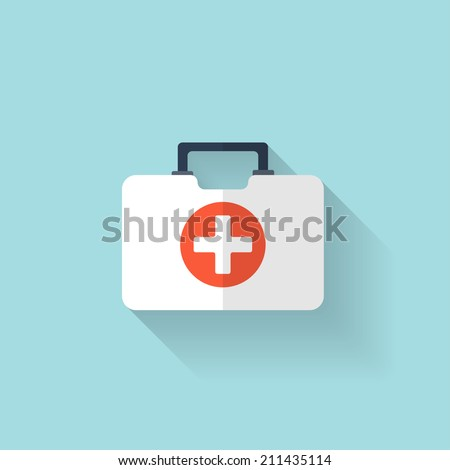 First aid kit flat icon. Health care. - stock vector