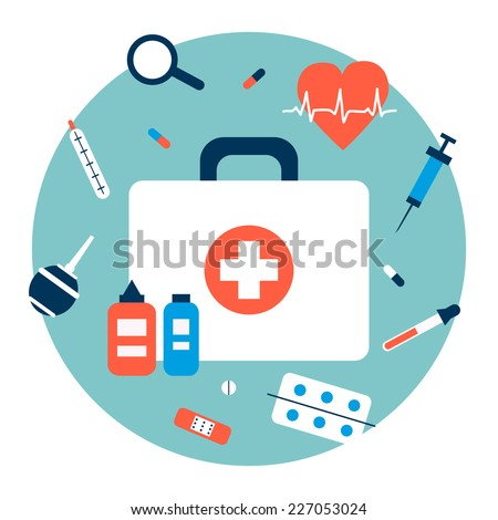 First-aid kit illustration in flat design style.  - stock vector