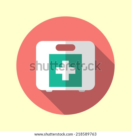 First aid kit long shadow flat design medical equipment icon. Vector illustration.