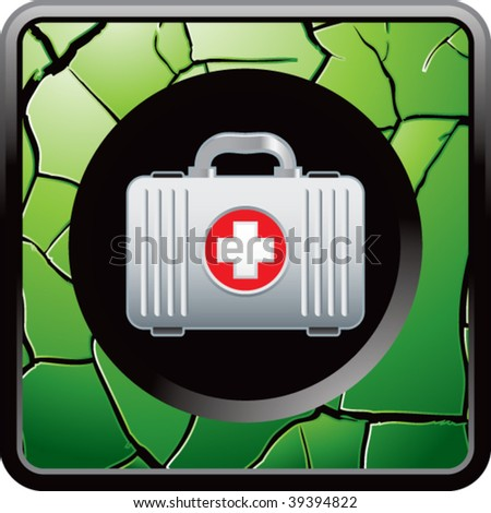 first aid kit on green cracked web icon