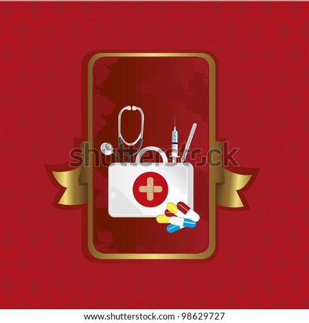 first aid label over red background with red cross patterns
