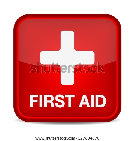 First aid medical button sign isolated on white. Vector illustration - stock vector