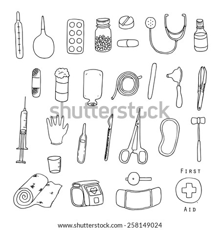 First aid. Medical equipment. Freehand illustration. - stock vector