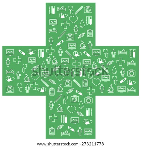 First aid medical icons set. Vector illustration in linear (flat) design. - stock vector