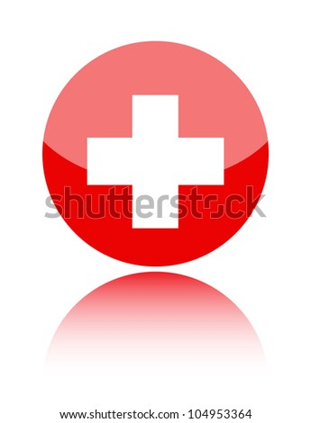 First aid medical sign isolated over white background - stock vector