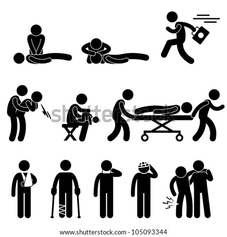 First Aid Rescue Emergency Help CPR Medic Saving Life Icon Symbol Sign Pictogram - stock vector