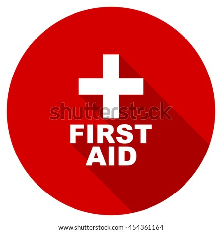 first aid vector icon, red modern flat design web element - stock vector