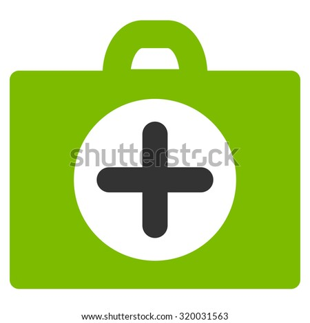 First Aid vector icon. Style is bicolor flat symbol, eco green and gray colors, rounded angles, white background.