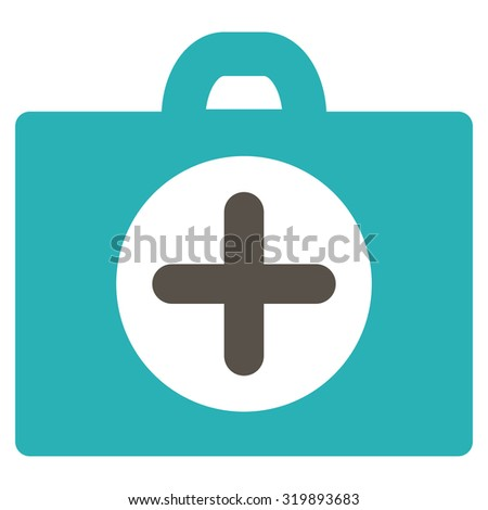 First Aid vector icon. Style is bicolor flat symbol, grey and cyan colors, rounded angles, white background.