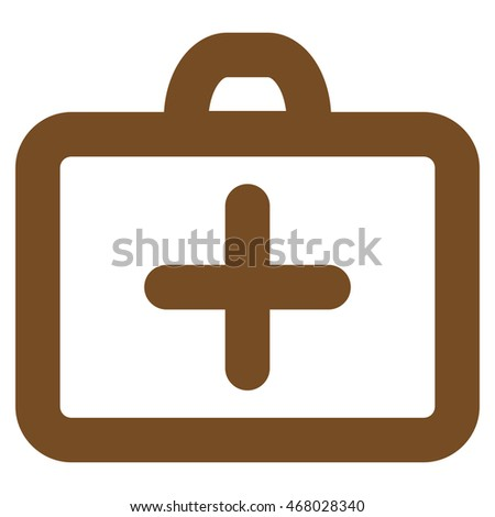 First Aid vector icon. Style is contour flat icon symbol, brown color, white background.