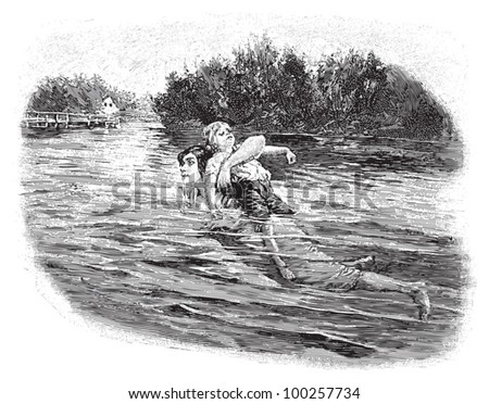 First aid - Woman rescue a child on water / vintage illustration from Die Frau als hausarztin 1911 - stock vector