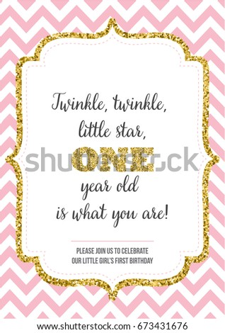 First birthday invitation girl one year stock vector 673431676 first birthday invitation for girl one year old party printable vector template invite stopboris Gallery