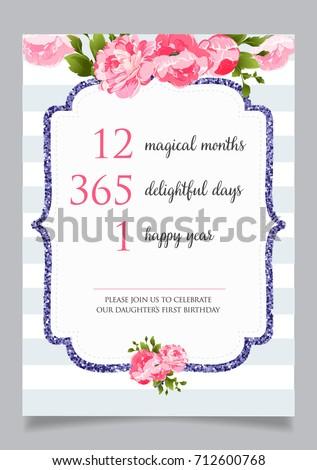First Birthday Invitation Girl One Year Stock Vector - First birthday invitation card background