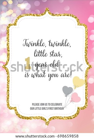 First birthday invitation girl one year stock vector 698659858 first birthday invitation for girl one year old party printable vector template with pink stopboris Gallery